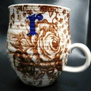 Anthropologie Boho Monogram R Coffee Mug EUC